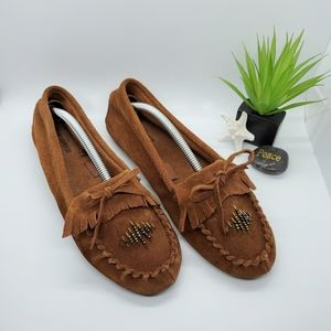 Mossimo Brown Leather Beaded Moccasins Size 8
